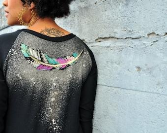 Painted Feather, Raglan Sweater, Boyfriend Cut, Boyfriend Sweater, Black Jumper, Feather Print, Bamboo Terry Sweatshirt