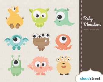 BUY 2 GET 1 FREE Cute Baby Monsters Clipart for Personal and Commercial Use ( cute baby monster clip art ) vector graphics