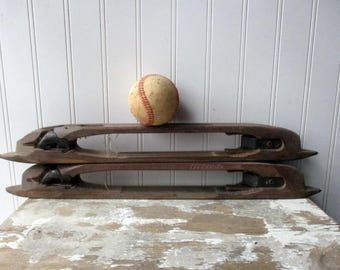 "2 vintage wooden weaving loom textile shuttles loom boat shuttle open bottom 18 1/2"" Industrial mill salvage"