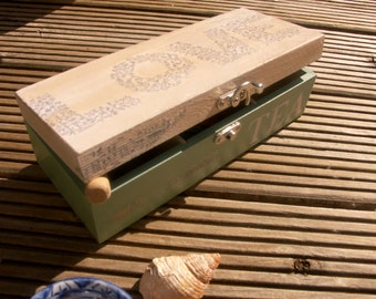 White and light turquoise shabby chic wooden tea box, tea caddy, gift for tea lover, Love