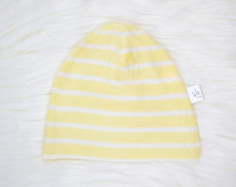 Yellow and White Stripe Baby Hat | Cuffed Hat | Slouchy Hat | Baby, Toddler Beanie | Slouchy Beanie | Hospital Hat | Baby Shower Gift