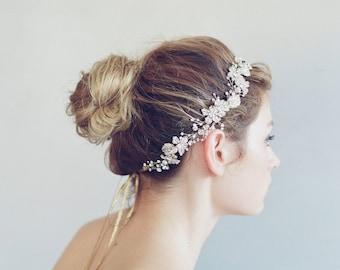 Bridal hair vine - Crystal encrusted flower and leaf hair vine - Style 736 - Ready to Ship