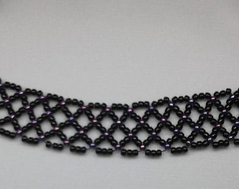 Black and Purple or White and Bronze Beaded Choker Collar