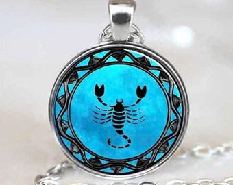 Scorpio Pendant, Scorpio Zodiac Necklace, Scorpio jewelry, Silver (PD0321)