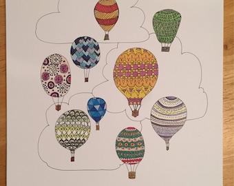 Hot Air Balloons 9x12 Illustration Print