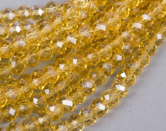 1 row of 100 beads 6x4mm faceted abacus yellow ochre