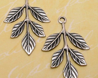 Leaf Sprig Pendant, Antique Silver, Trinity Brass, 2 Pc. AS119-2