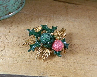 Vintage 1960 Christmas Brooch Ornaments on a Pine Bough Accented with Holly: Hang an Ornament on the Tree