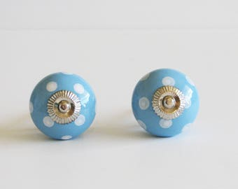 Blue White Polka Dot Knobs, Polka Dot Drawer Pulls,