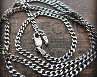Curb Chain 3mm - Sterling Silver - mens - womens - antiqued silver - shiny silver - chain