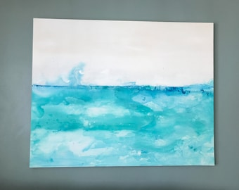 Turquoise water 1 , large acrylic painting, large abstract, turquoise, large painting