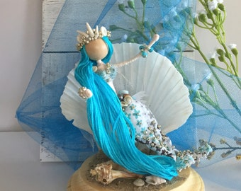 Under the sea! Gorgeous Blue Mermaid Bendy Doll is swimming and enjoying the blue ocean waves!