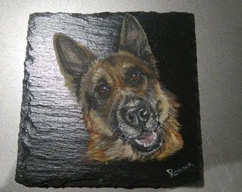 Custom pet portraits, coasters, commission, your pets hand painted on slate coasters  dogs, cats, horses, fish or birds, completely usable.