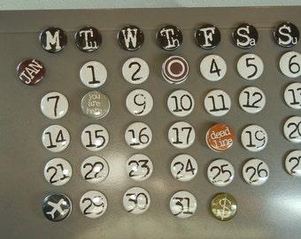 perpetual calendar -- custom made -- one inch magnets
