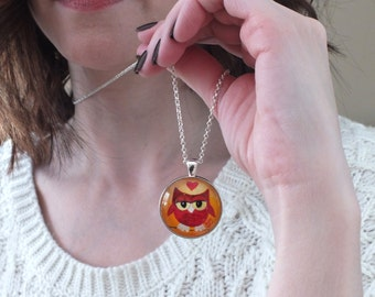 Owl art pendant, mini Red Owl painting set in a pendant, original acrylic painting under glass NOT A PRINT