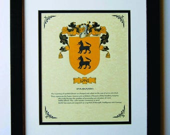 HERALDY COAT of ARMS ~ Lopez Family Crest ~ Framed