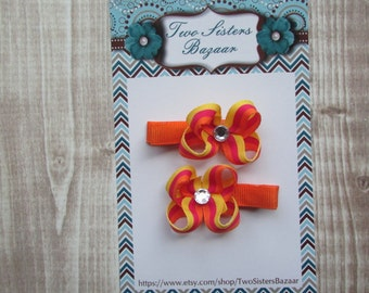Pigtail Hair Clips, Girls Hair Bows, Toddler Hair Clips, Infant Hair Clips, Summer Hair Clip