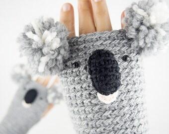 Koala Fingerless Gloves ~ Handmade
