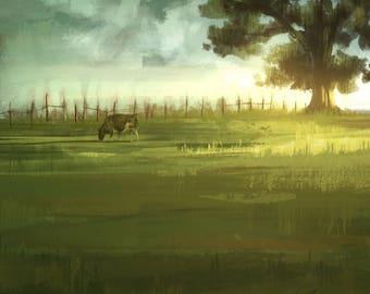 Cow and Tree - Fine art print