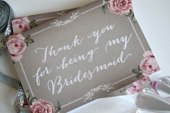 Bridesmaid Thank You Cards (floral grey)