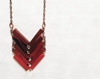 Wood Chevron Necklace. Geometric wood hand painted pendant. Romantic necklace for bide. Minimal necklace for best friend. Red modern PASSION