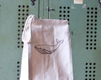 Lunch Box - Reusable Lunch Bag - Screen Printed Recycled Cotton Lunch Bag - Eco Friendly - Nautical - Canvas Tote Bag - Lunch Sack - Lunch