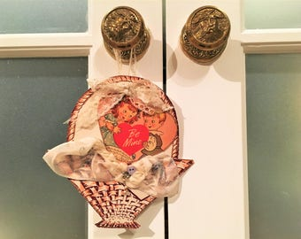 Vintage Handmade Valentine Decoration Shabby Chic Antique Handkerchief Wall Hanging Doorknob Hanger