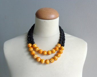 Statement yellow orange black necklace double strand