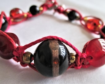 Pink Incantation, Women's Braided and Beaded Bracelet