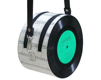 retro vinyl record Cross-body bag - music lover gifts - vintage gift ideas - nostalgic gifts for women - repurposed bag - sustainable gift