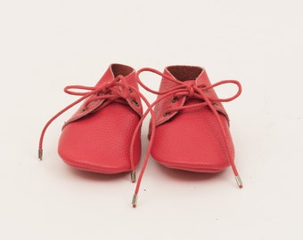 Genuine Leather Mac&Lou Lace Up Baby Toddler Moccasins Babies Booties Shoes Baby Shower Gift Christmas Gift Red