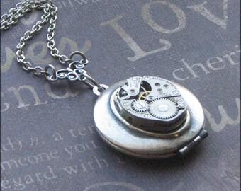 Silver Steampunk Locket Necklace- Enchanted Gears - By TheEnchantedLocket
