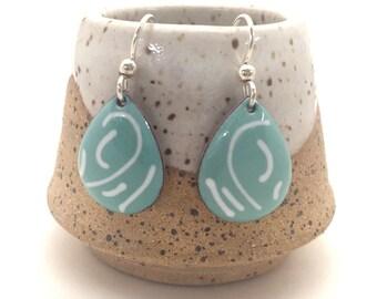 Teal Blue Earrings, Blue & White Handmade Enamel Earrings, Blue Glass Dangle Earrings, Jean Blue, Boho Earrings, Gift for Her, Minimalist