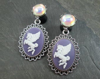 "Pegasus Dangle Plugs - 9/16"" 14mm - Rainbow Gauges - Plug Earrings - Mythical Plugs - Mythology Jewelry - Pegasus Plugs - Dangle Gauges"