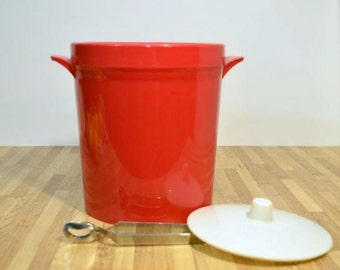 Retro Mod Ice Bucket and Tongs by Beacon Products of the USA and Canada Plastic and Perfect for Your New Years Eve Party