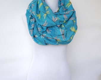 Infinity Blue Scarf with Dragonfly Print /Fashion Scarf / Women's Scarf / Gift For Her / Boho Shawl / Bohemian Accessories