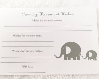 Parenting Advice Cards Baby Shower Activity Game Cards Baby Wishes Elephant Set of 10