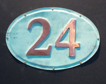 """Oval House plaque  in patinated copper, 3""""/75mm high numbers, Garamond font polished and laquered g"""
