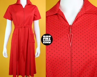 Cute Vintage 70s Red & Black Polkadot Easy Breezy Zipper Dress