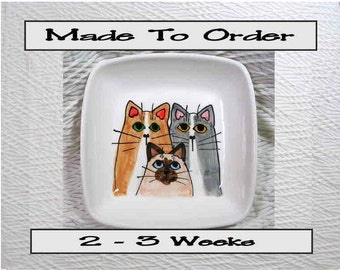 Cat Trio On A Square Clay Dish / Bowl Ceramic Handmade To Order by Grace M Smith