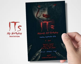 IT Clown Invitation - IT Clown Movie Inspiration - Spooky Clown - Scary Clown - Halloween Party - Costume Party- Haunted Birthday Bash