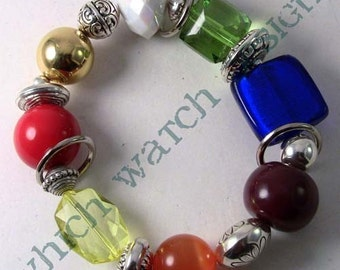 Rainbow Values.. Chunky Bracelet, Red, Blue, Orange, White, Yellow, Purple, Green, Gold, Silver Plated, Stretch