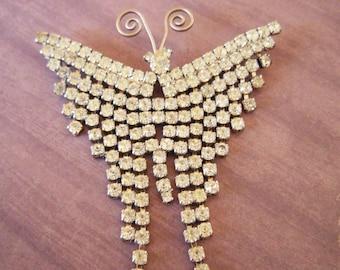 HUGE Butterfly Vintage Rhinestone Brooch