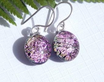 Drop Earrings - Golden Pink Dichroic Glass Dangle Earrings on 925 Sterling Silver Earwires - Fused Glass Jewelry