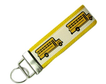 Personalized Fabric Key Chain / Key Fob School Bus with Optional Initials