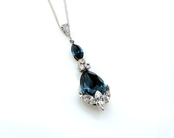 Bridal wedding jewelry bridesmaid gift prom party Swarovski marquise clear white and navy blue teardrop crystal rhinestone silver necklace