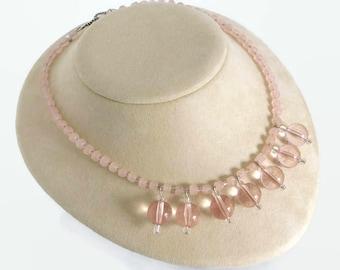 pink bib necklace, reclaimed jewelry