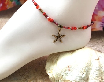 Antique Brass Starfish Red Seed Bead Mix Ankle Bracelet