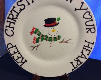 Christmas Snowman Display Plate