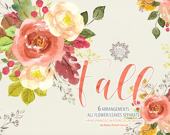 Watercolor Autumn Fall Flower Clip Art Hand Drawn Flowers